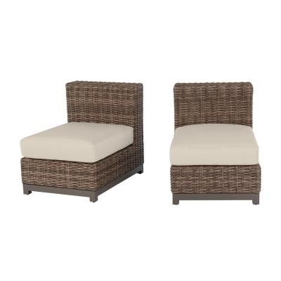 Fernlake Taupe Wicker Armless Middle Outdoor Patio Sectional Chair with CushionGuard Chalk White Cushions (2-Pack)