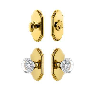 Arc Plate 2-3/4 in. Backset Lifetime Brass Chambord Crystal Door Knob with Single Cylinder Deadbolt