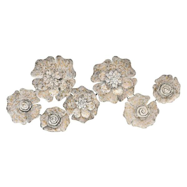 THREE HANDS 18 in. Metal Wall Decor in White 68386