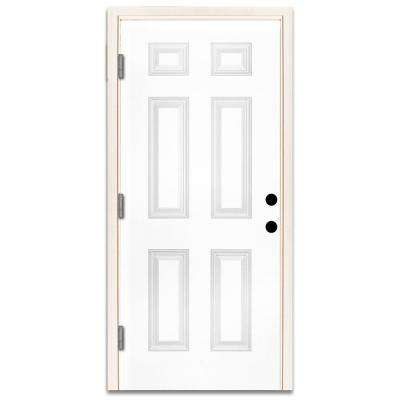 30 in. x 80 in. Premium 6-Panel Primed White Steel Prehung Front Door with 30 in. Right-Hand Outswing and 4 in. Wall