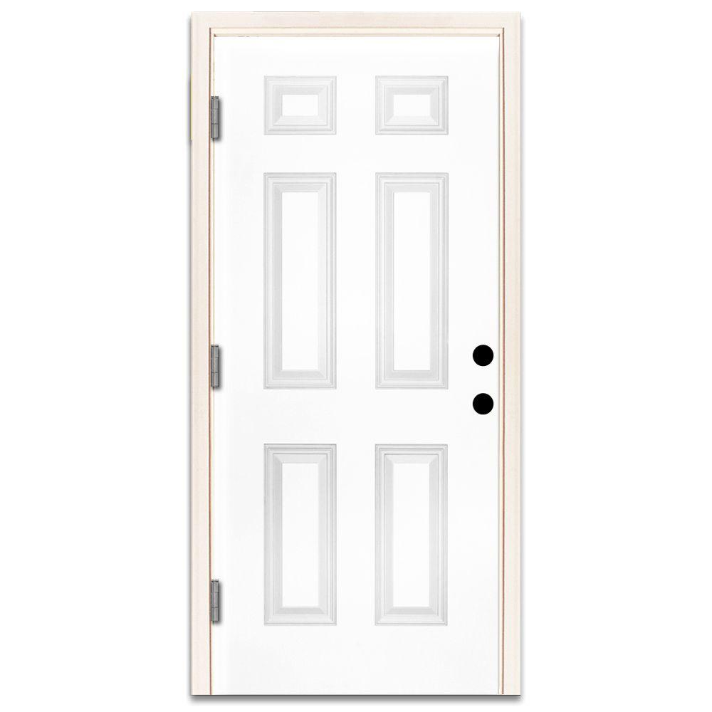 Steves & Sons 36 in. x 80 in. Premium 6-Panel Primed White Steel Prehung Front Door with 36 in. Right-Hand Outswing and 4 in. Wall