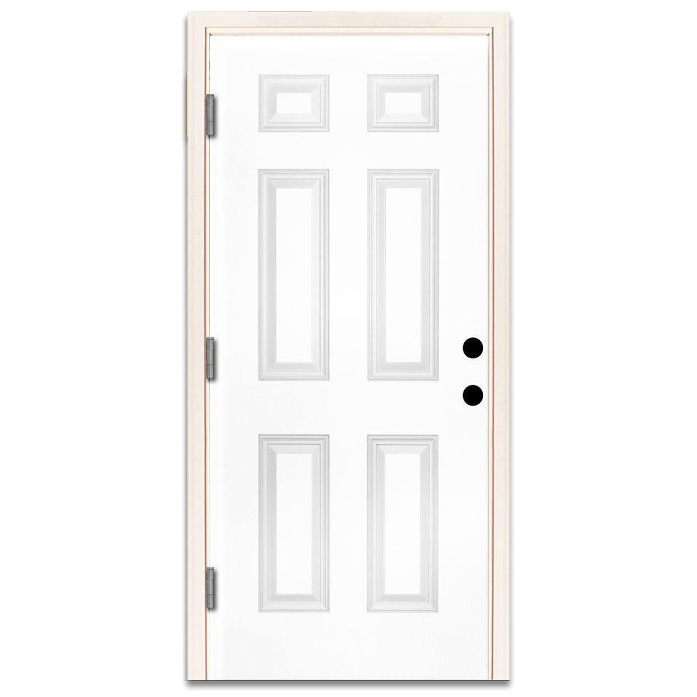 30 X 80 Exterior Prehung 6 Panel Steel Doors Front Doors The Home Depot