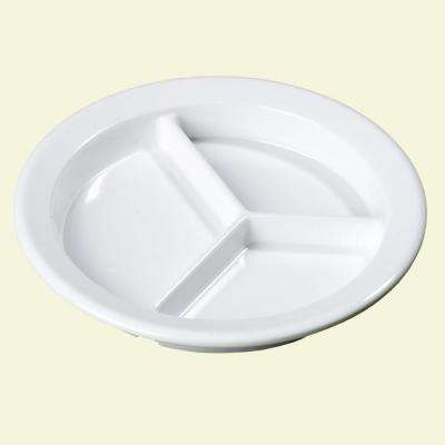 9.00 in. Diameter, 1.33 in. D Melamine 3-Compartment Plate with Deep Dish in White (Case of 24)