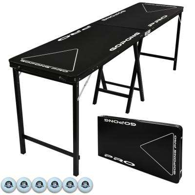 PRO 8 ft. x 36 in. Heavy-Duty Premium Beer Pong Table in Black