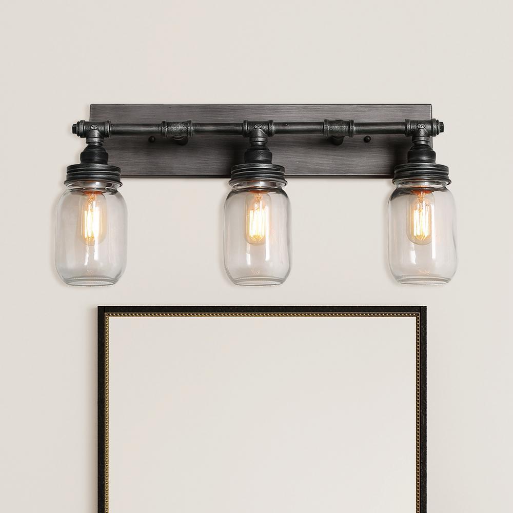 Laurel 3-Light 24.4 in. Black Bath Light Brushed Weathered Iron Graphite Vanity Light with Mason Glass Jar Shades