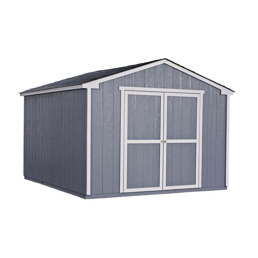 Handy Home Products Cumberland 10 ft. x 12 ft. Wood Shed Kit with Floor Frame