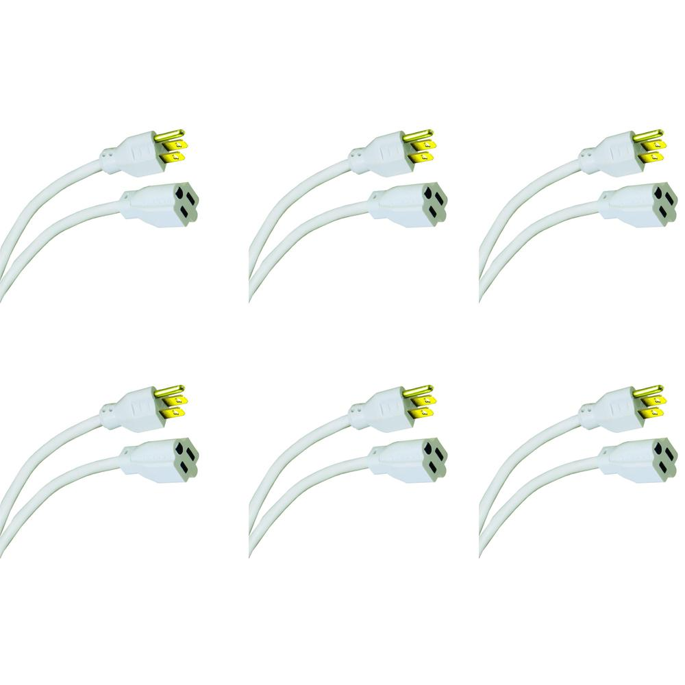 15 ft. 16/3 Indoor/Outdoor Extension Cord, White (6-Pack)