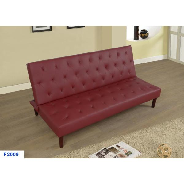 Burgundy Red Faux Leather Convertible Sofa Bed Futon