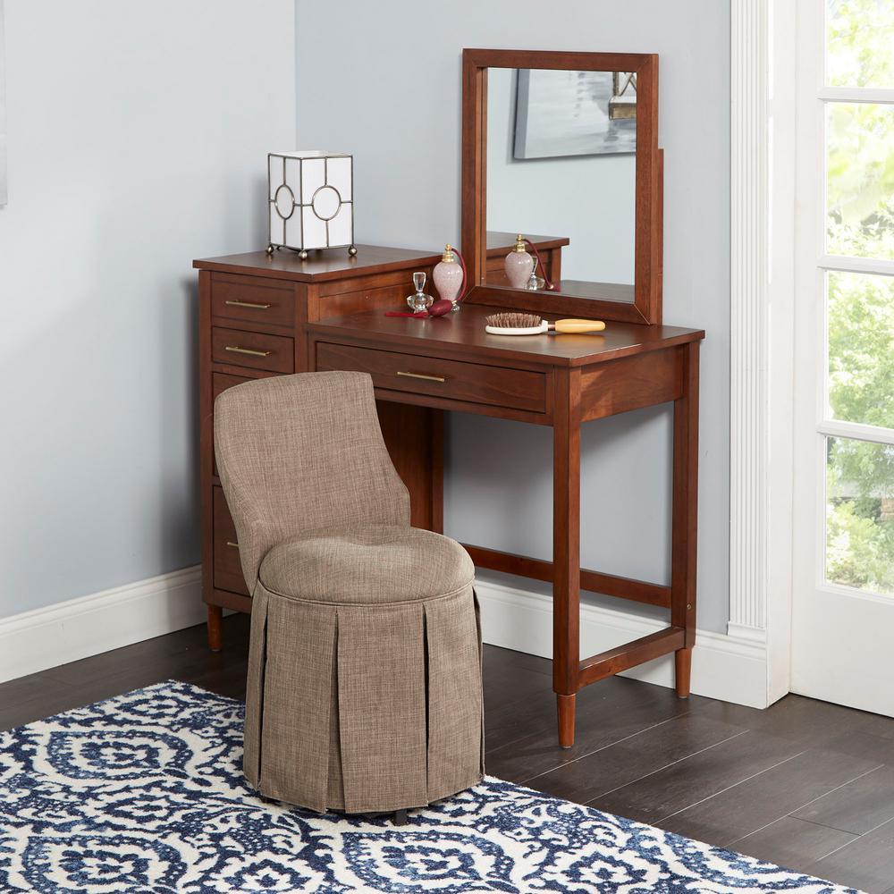 Sullivan Brown Skirted Swivel Vanity Chair with Back