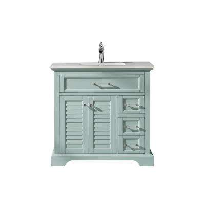 Lorna 36 in. Bath Vanity in Green with Manufactured Stone Vanity Top in White with White Basin