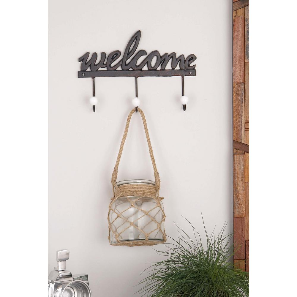 "Black Iron ""Welcome"" Wall Hook Rack with 3-Hooks"