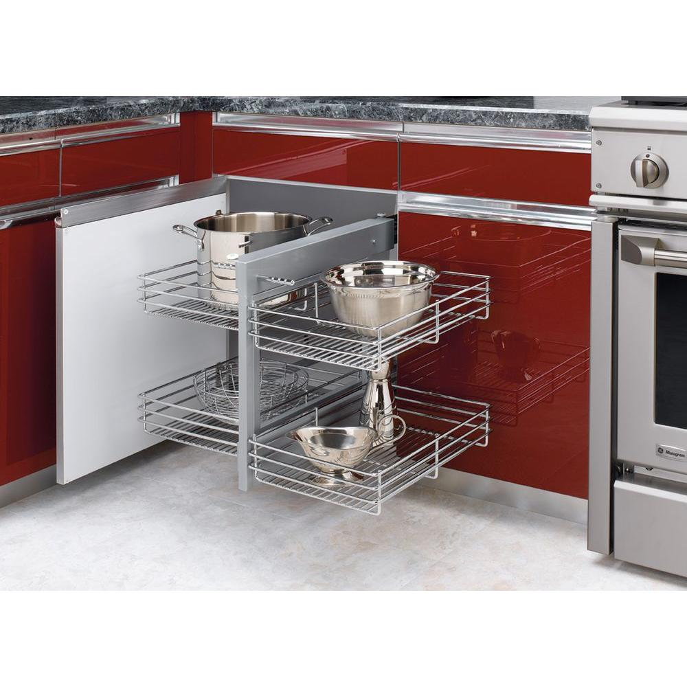 Rev A Shelf 21 In H X 26 25 W 20 D Blind Corner Cabinet Pull Out Chrome 2 Tier Wire Basket Organizer 5psp 15 Cr The Home Depot