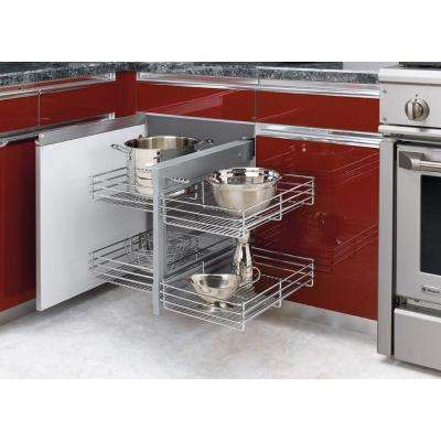 21 in. H x 26.25 in. W x 20.25 in. D Blind Corner Cabinet Pull-Out Chrome 2-Tier Wire Basket Organizer