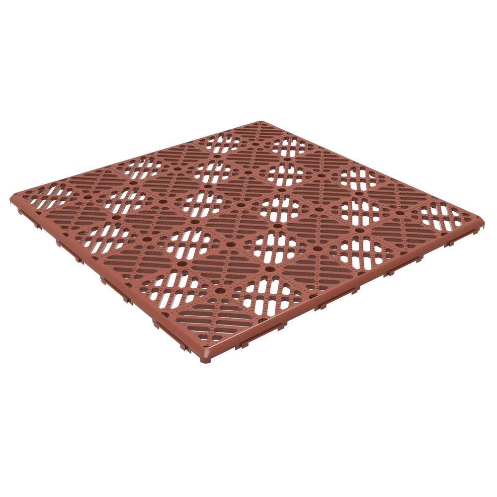 11.5 in. x 11.5 in. Orange Polypropylene Outdoor Flooring (Set of 30)