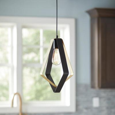 1-Light Steel Black and Brown Brass Satin Mini Pendant