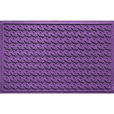 Houndstooth Purple 24 in. x 36 in. Polypropylene Door Mat
