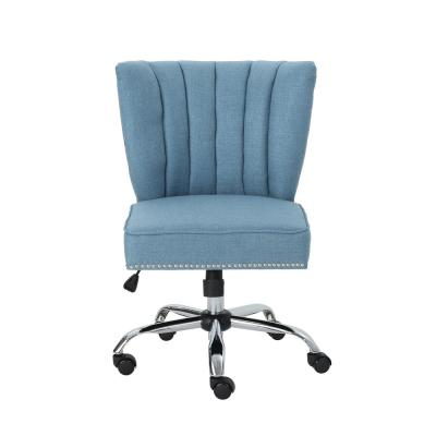 Booker Contemporary Scalloped Back Blue Fabric Home Office Chair with Stud Accents