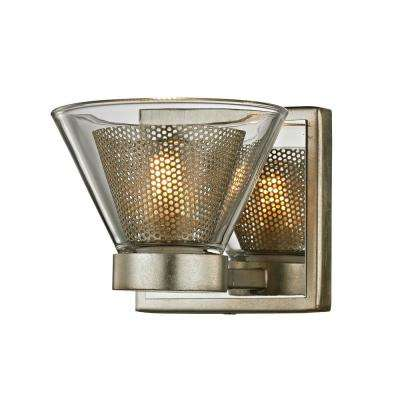 Wink 1-Light Silver Leaf 5.25 in. W LED Bath Light with Polished Chrome Accents and Clear Glass Shade