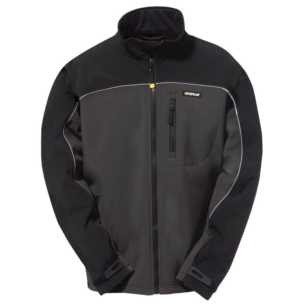 Soft Shell Men's 2X-Large Graphite/Black Polyester/Spandex Water Resistant Jacket