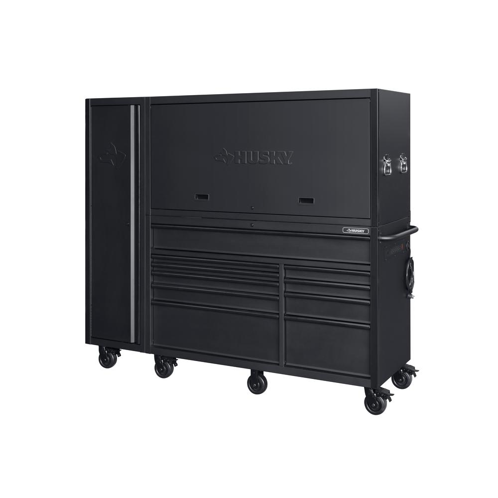 Husky Heavy-Duty 80 in. W 10-Drawer, Deep Combination Tool Chest and Rolling Cabinet Set in Matte Black (3-Piece)