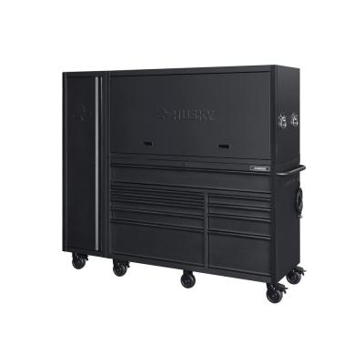 Heavy-Duty 80 in. W 10-Drawer, Deep Combination Tool Chest and Rolling Cabinet Set in Matte Black (3-Piece)