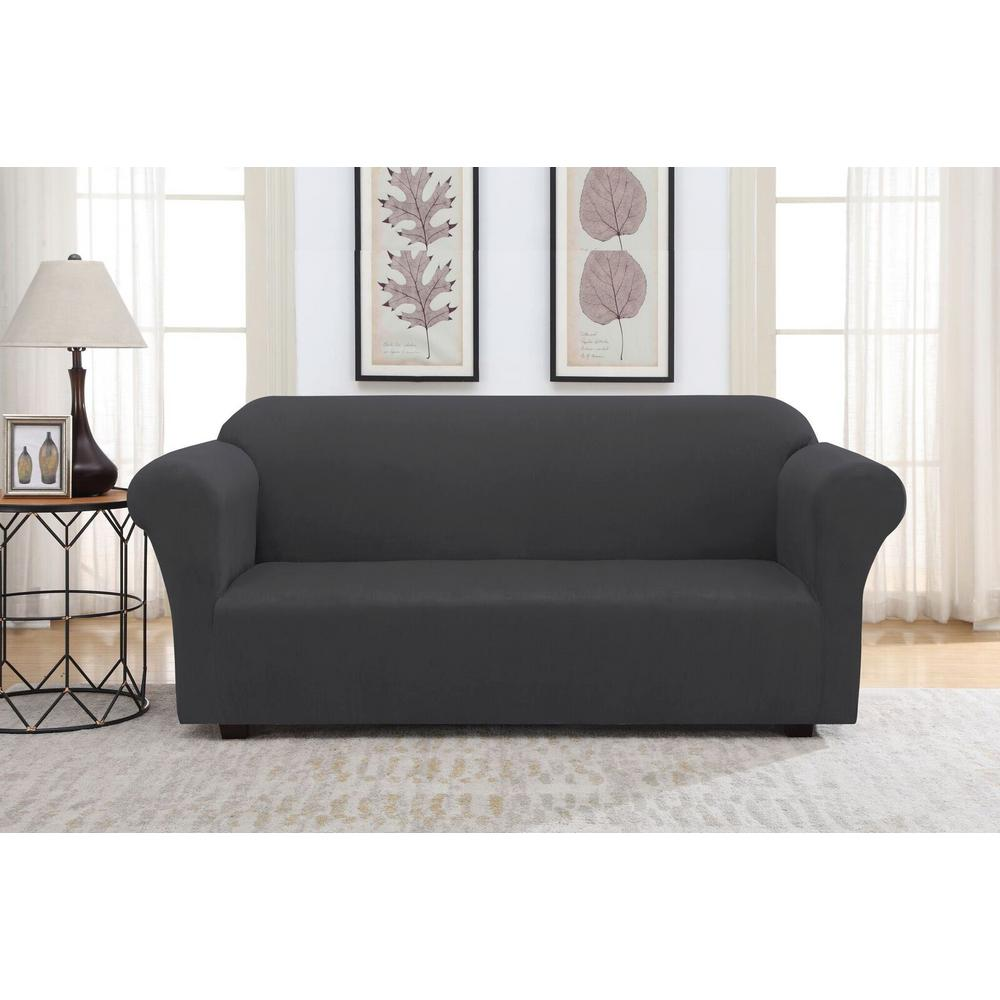 unbranded gray suede stretch fit sofa slipcover 12778a the home depot