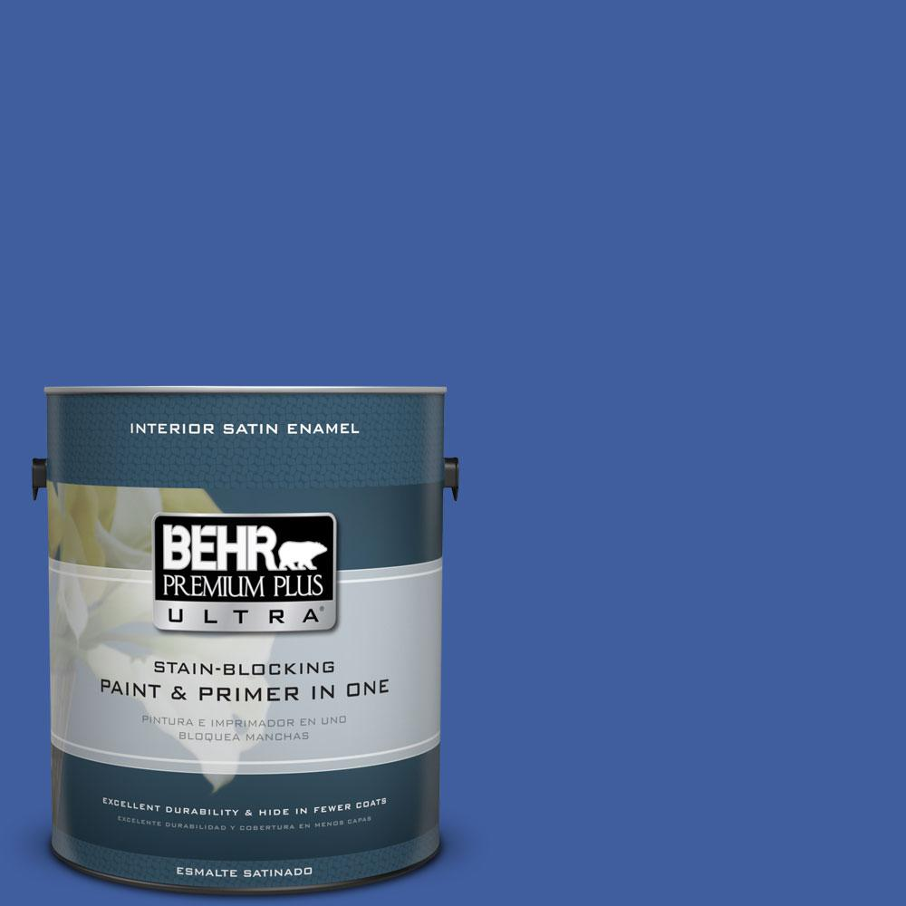 BEHR Premium Plus Ultra 1-gal. #BIC-21 Blue Dahlia Satin Enamel Interior Paint