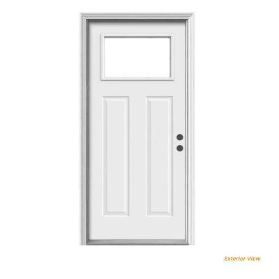 36 in. x 80 in. 1 Lite Craftsman Primed Steel Prehung Left-Hand Inswing Front Door w/Brickmould