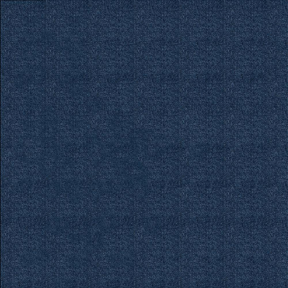 Blue Ribbed 18 in. x 18 in. Carpet Tile (16 Tiles/Case)