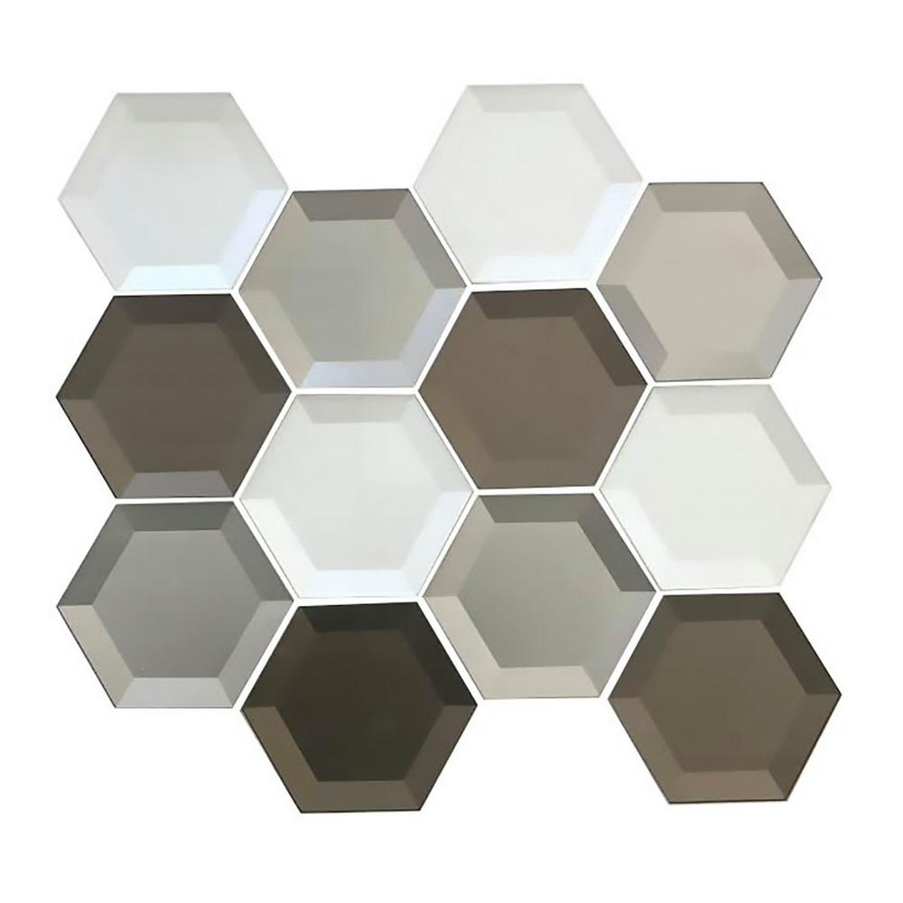ABOLOS Forever Warm Gray Beveled Hexagon Mosaic 3 in. x 3 in. Glass Mesh Mounted Decorative Wall Tile (0.7 Sq. ft.)