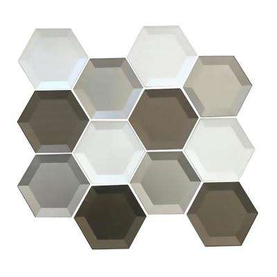 Secret Dimensions Warm Gray, White, Bronze Mix Hexagon 8.75 in. x 10.25 in. x 4.06 mm Glossy Glass Mosaic Tile