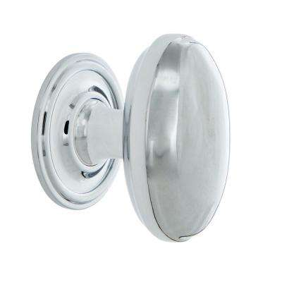 Homestead 1-1/8 in. Bright Chrome Brass Cabinet Knob with Classic Rose