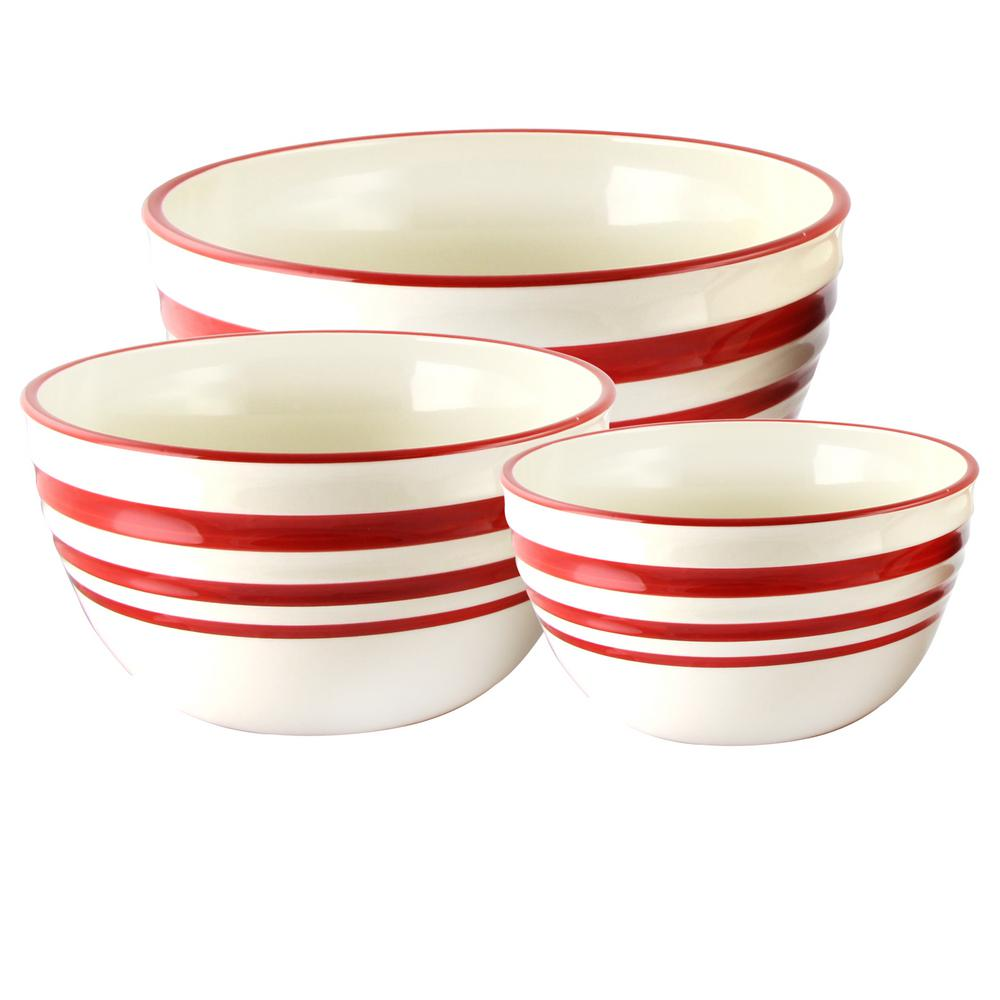 Hollydale 39 oz. 3-Piece Linen/Red Nesting Bowl Set