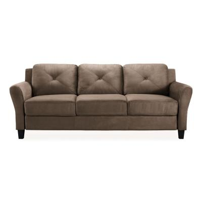 Harvard 31.5 in. Brown Microfiber 4-Seater Tuxedo Sofa with Round Arms
