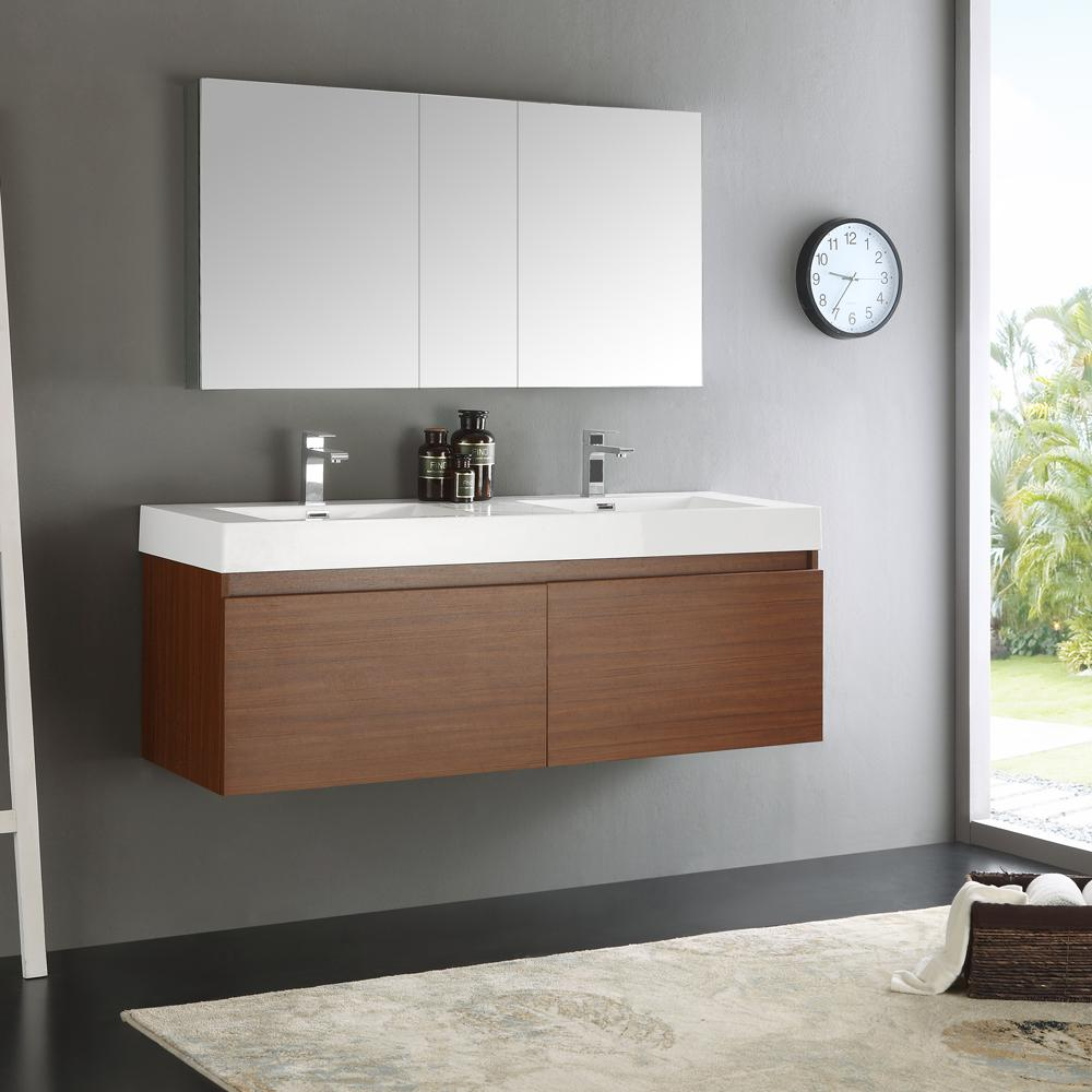 Fresca Mezzo 59 In Vanity In Teak With Acrylic Vanity Top In White With White Basin And Mirrored Medicine Cabinet Fvn8042tk The Home Depot