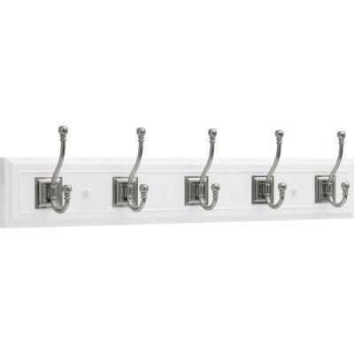 27 in. White and Satin Nickel Architectural Hook Rack
