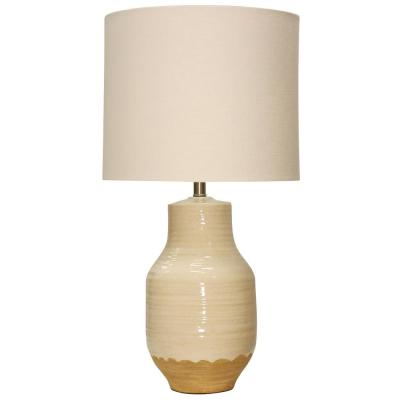 30 in. Prova Beige Table Lamp with White Hardback Fabric Shade
