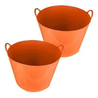 11 Gal. Storage Tub in Orange (2-Pack)