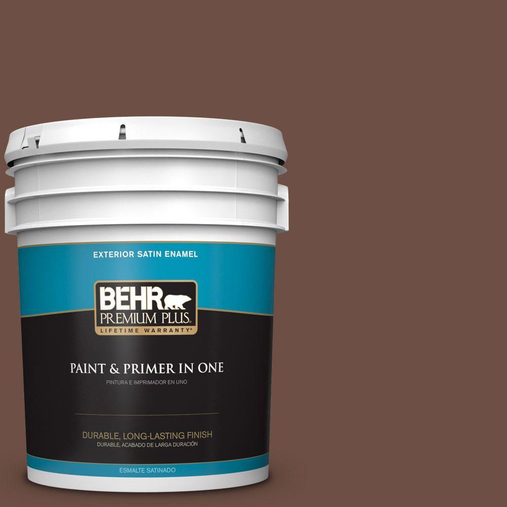 BEHR Premium Plus 5-gal. #PMD-108 Double Chocolate Satin Enamel Exterior Paint