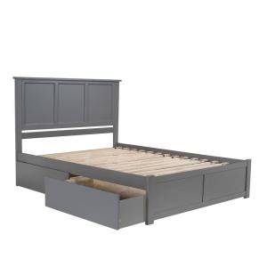 Madison Queen Platform Bed with Flat Panel Foot Board and 2 Urban Bed Drawers in Grey