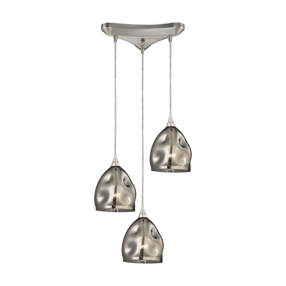 Titan Lighting Niche 3 Light Satin Nickel Pendant With Black Chrome Glass