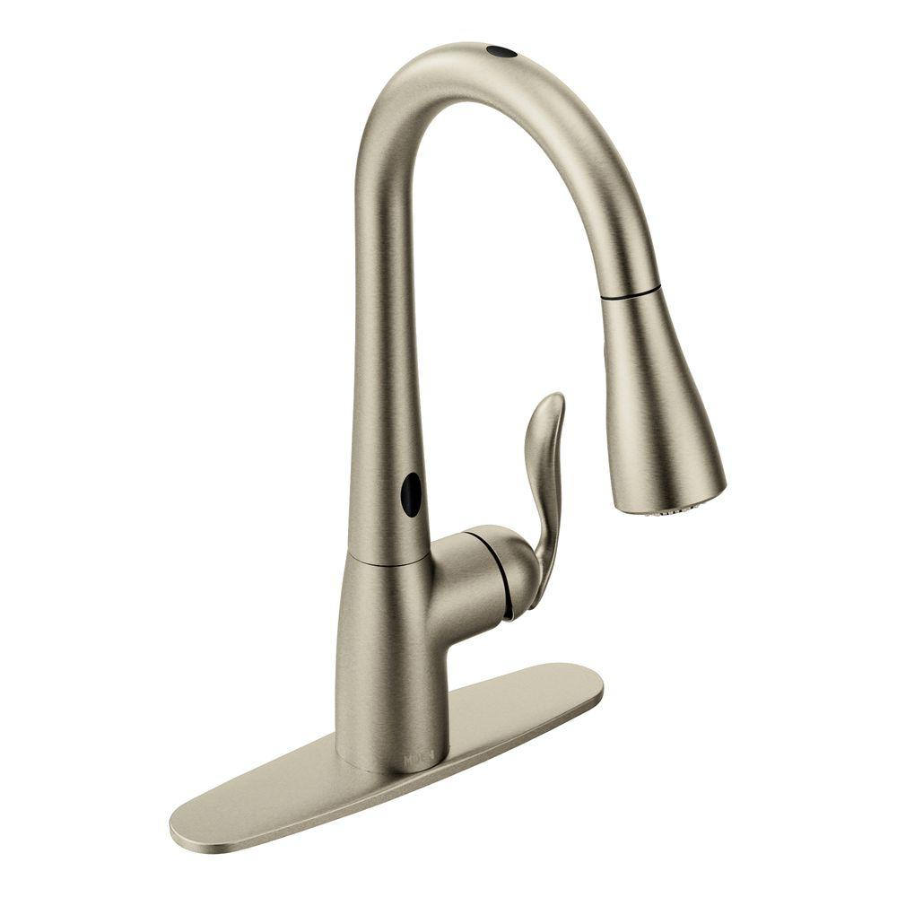 MOEN Arbor SingleHandle PullDown Sprayer Touchless Kitchen Faucet - Touch activated kitchen faucet