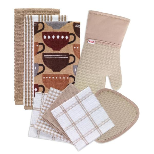 T-Fal Sand Cotton Kitchen Textile Set (Set of 9)