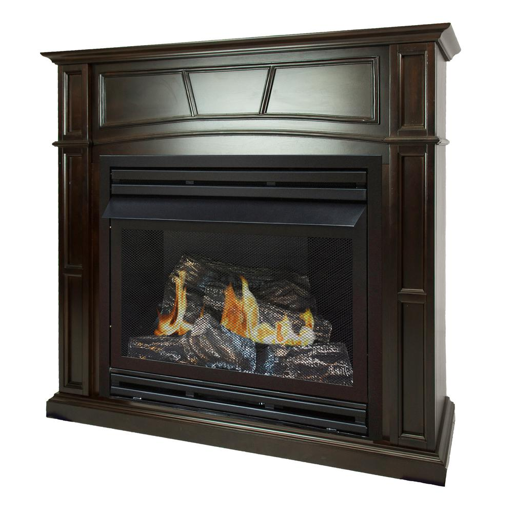pleasant hearth 46 in full size ventless propane gas fireplace in rh homedepot com