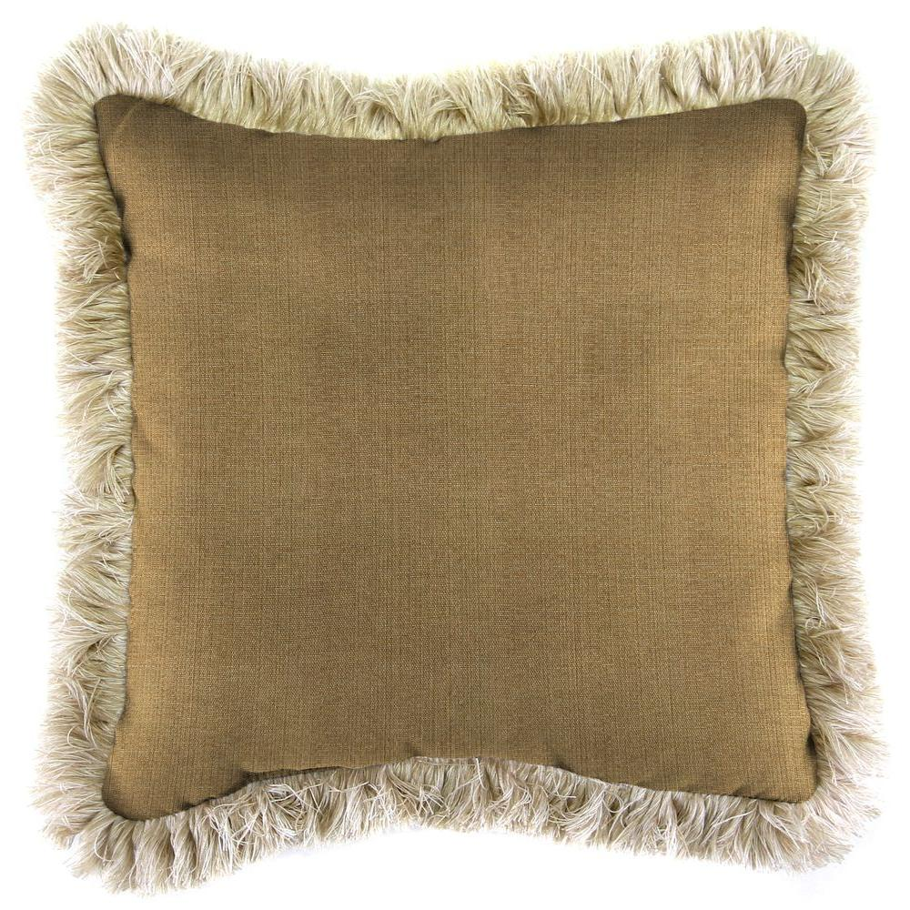 Sunbrella Linen Straw Square Outdoor Throw Pillow with Canvas Fringe