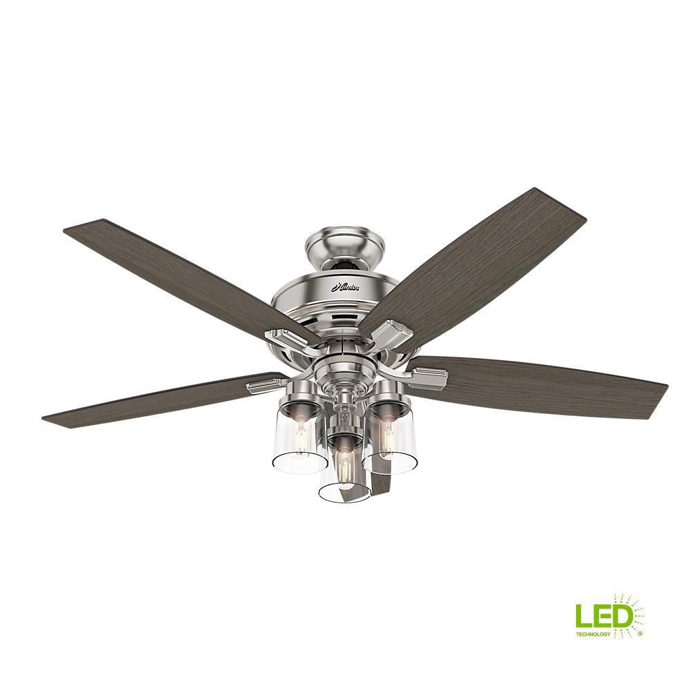 Hunter Bennett 52 In  Led Indoor Brushed Nickel Ceiling Fan With 3