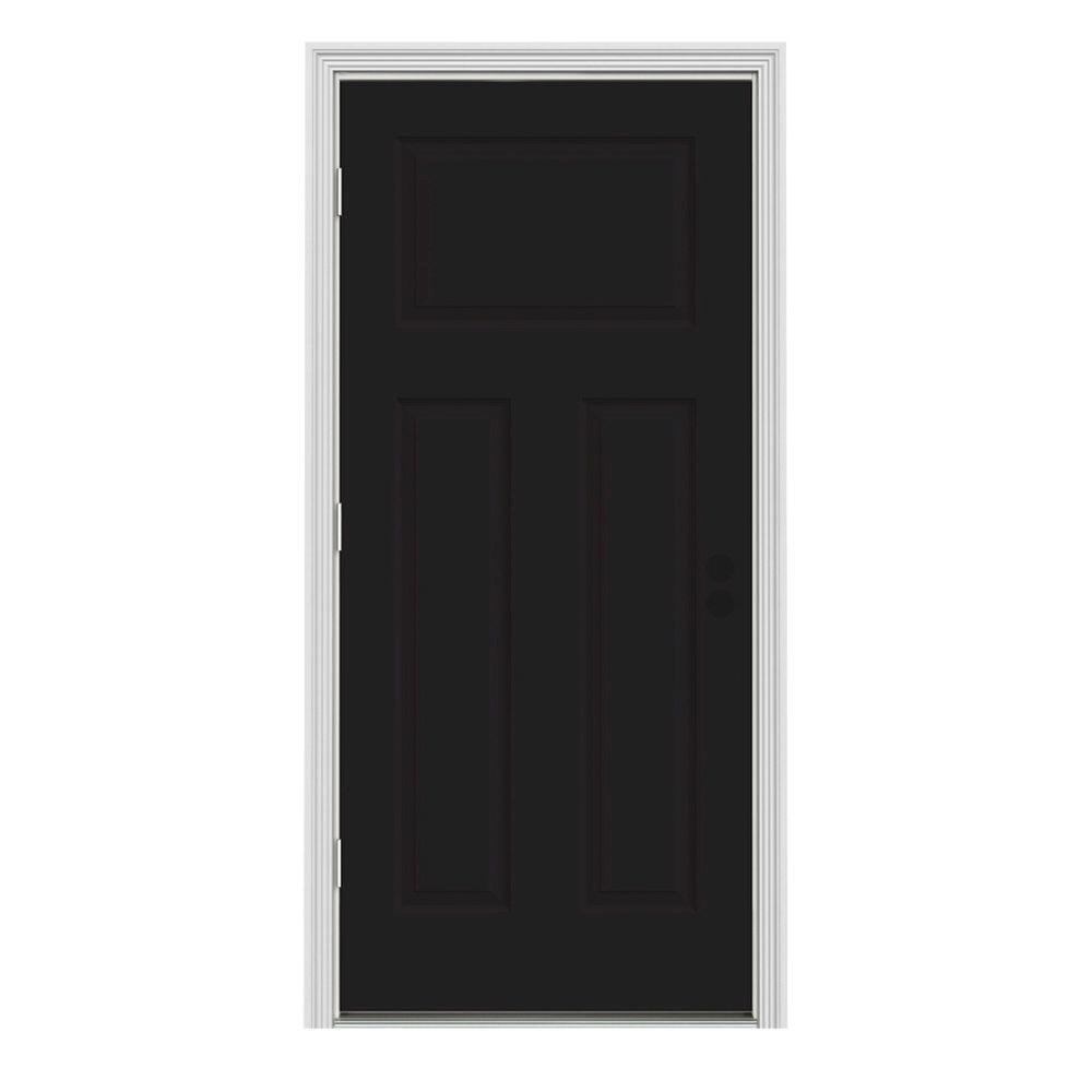 32 in. x 80 in. 3-Panel Craftsman Black Painted Steel Prehung