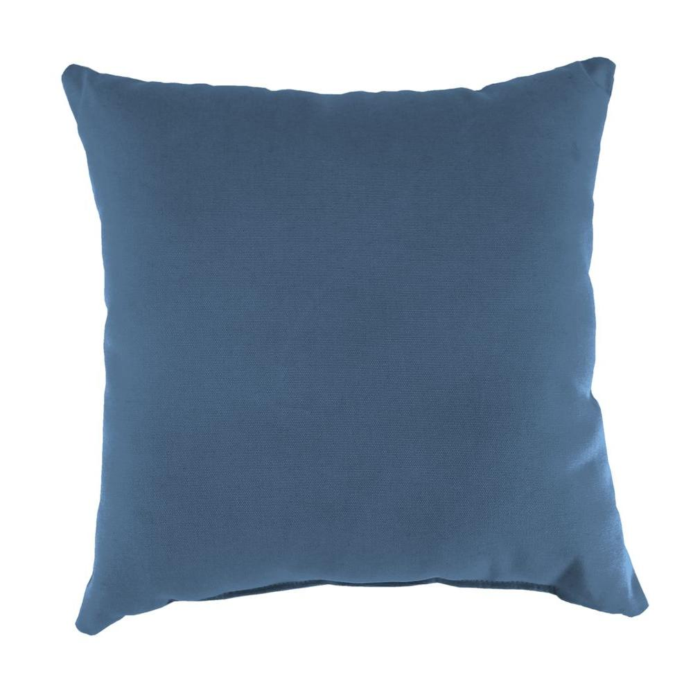 Jordan Manufacturing Sunbrella Canvas Sapphire Blue Square Outdoor Throw Pillow