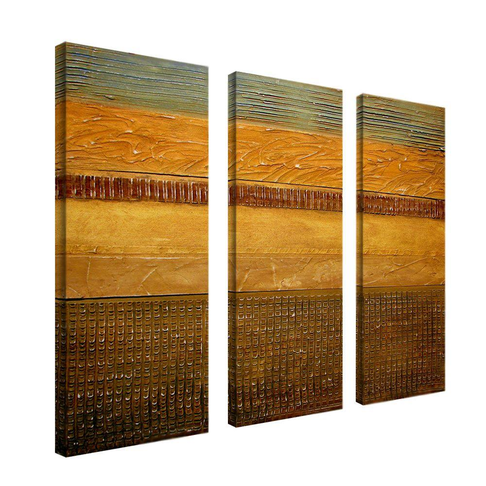 8 in. x 24 in. Earth Layers 3-Piece Canvas Art Set