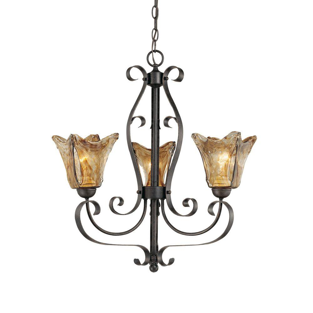 3-Light Burnished Gold Chandelier with Umber Swirl Glass